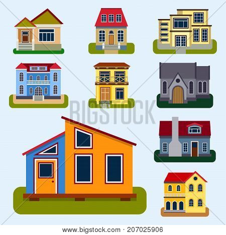 Historical city modern world most visited famous distinctive house building front face facade set for tourists cartoon architecture vector illustration. Cottage residential construction cityscape.