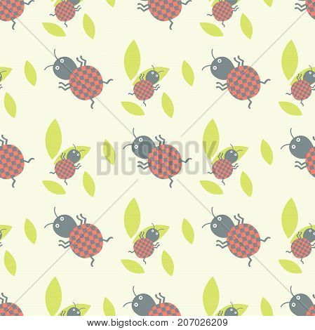 Cute insects seamless pattern. Beautiful art graphic bugs wallpaper. Cartoon design summer little animals decoration colorful textile. Creative ladybird or wildlife ladybug.