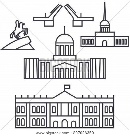 saint petersburg, russia vector line icon, sign, illustration on white background, editable strokes