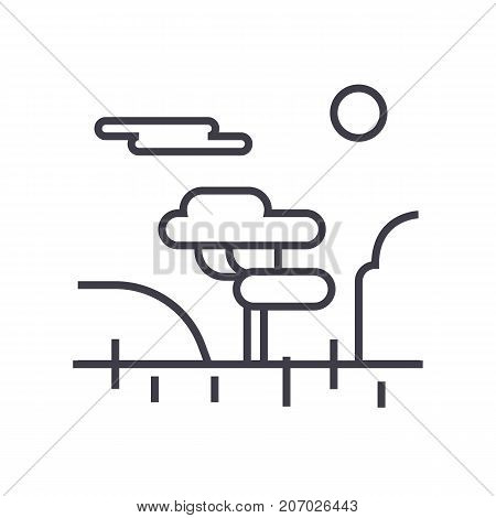 savannah vector line icon, sign, illustration on white background, editable strokes