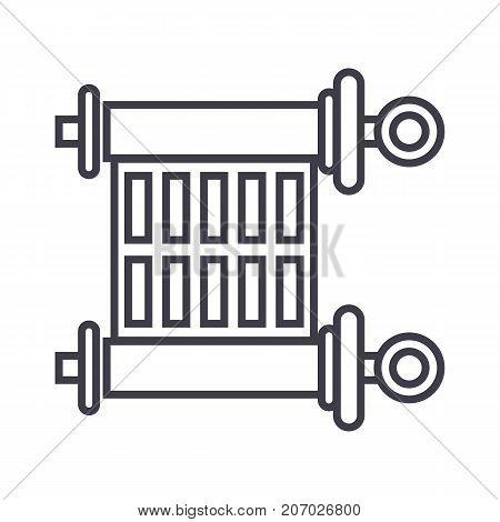 scroll, torah vector line icon, sign, illustration on white background, editable strokes