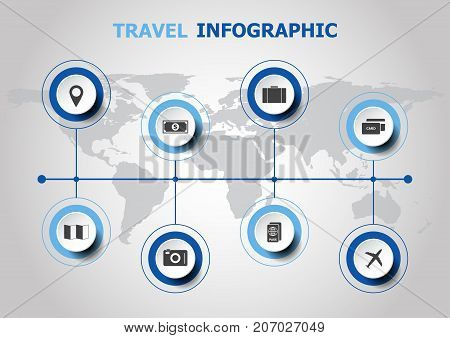 Infographic design with travel icons, stock vector