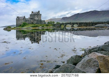 Eliean Donan Castle And Loch Duich In The Scotland Highlands
