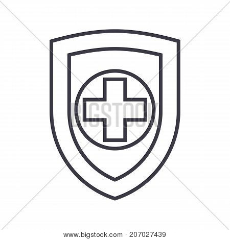 shield, safequard vector line icon, sign, illustration on white background, editable strokes