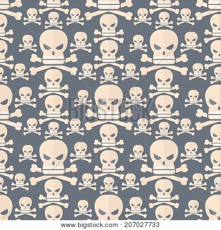 Cartoon skull semless pattern character vector scary holiday design ghost silhouette ghost character creepy funny cartoon cute spooky background