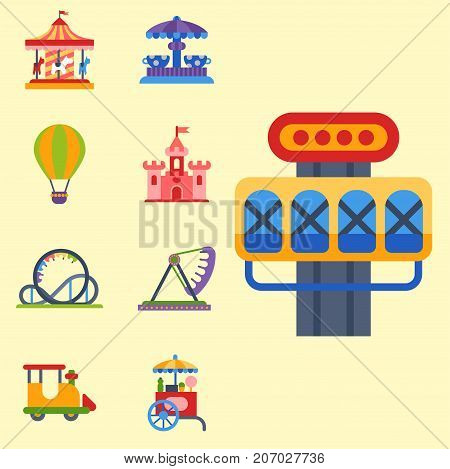 Slides and swings amusement park, ferris wheel attraction park. Carnival amusement leisure festival ride. Carousels entertainment attraction side-show kids park construction vector illustration.