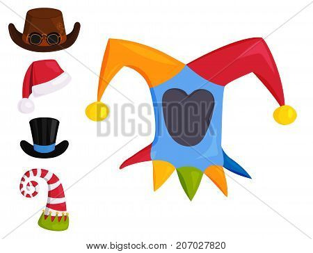 Hats of various type and colors. Different funny caps for party, holidays and masquerade. Traditional headwear icon cartoon clothes accessory.