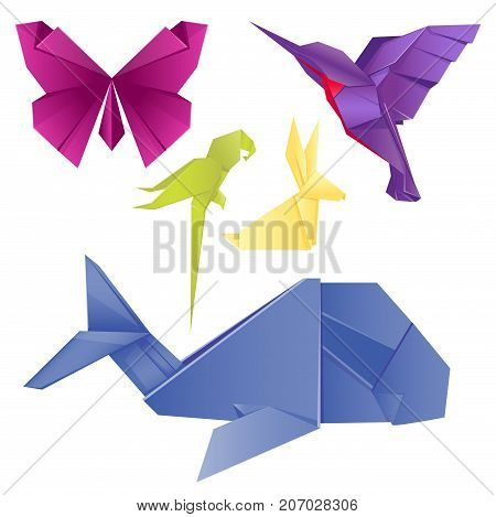 Animals Origami Set Japanese Folded Modern Wildlife Hobby Abstract Symbol Creative Decoration Vector Illustration Geometric