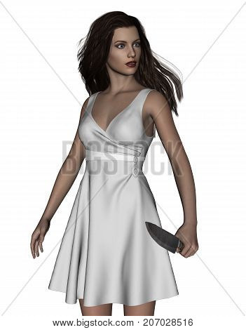 It's time for revenge,3d illustration of Woman with knife,Concept and ideas background for book cover or horror movie poster