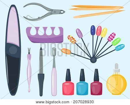 Manicure foot and hand fingers instruments set on white background top view. Hygiene hand care pedicure salon tweezers fingernail. Fashion personal cosmetics equipment vector.