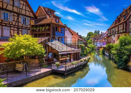 Beautiful view of the historic town of Colmar, also known as Little Venice, traditional colorful houses on idyllic river Lauch in summer, Colmar, Alsace, France