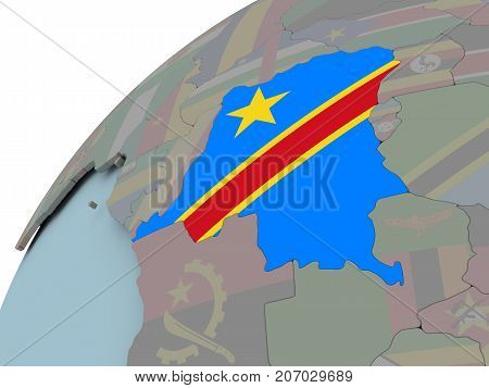 Map Of Democratic Republic Of Congo With Flag