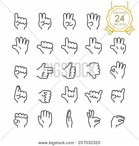 Set of modern gesture one hand line icon for website infographic or business simple symbol. Vector illustration (Editable Stroke)