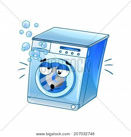 Funny automatic washer isolated cartoon character. Household appliance with emotional face, home electronic device comic mascot vector illustration.