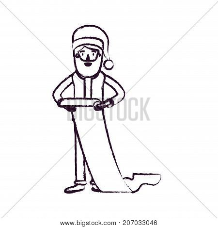 santa claus caricature full body holding a gift list in paper with hat and costume blurred silhouette on white background vector illustration