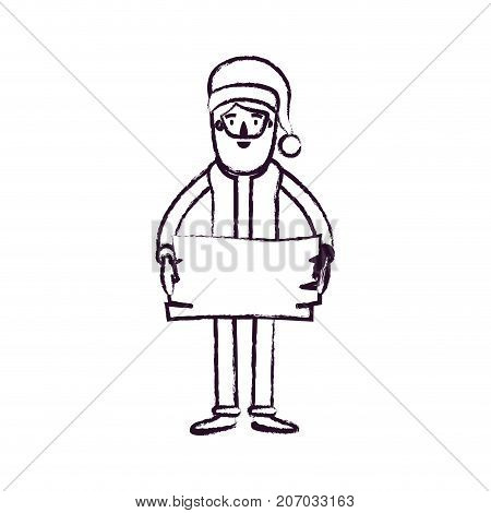 santa claus caricature full body holding a wooden piece with hat and costume blurred silhouette on white background vector illustration