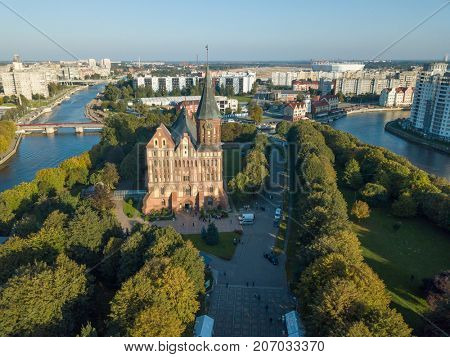Aerial cityscape of Kant Island in Kaliningrad, Russia at sunny autumn day