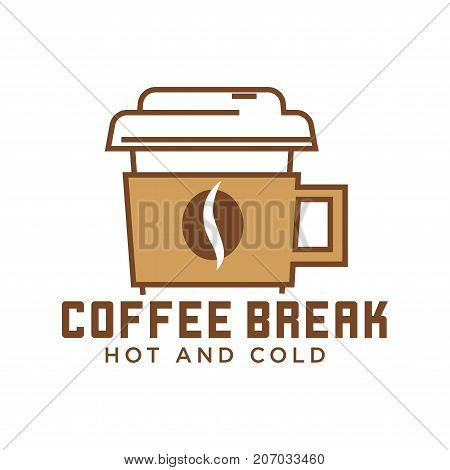 Coffee break cafe with hot and cold drinks emblem isolated cartoon flat vector illustration on white background. Take away paper cup with cover and handle as promotional logotype for bar with drinks.