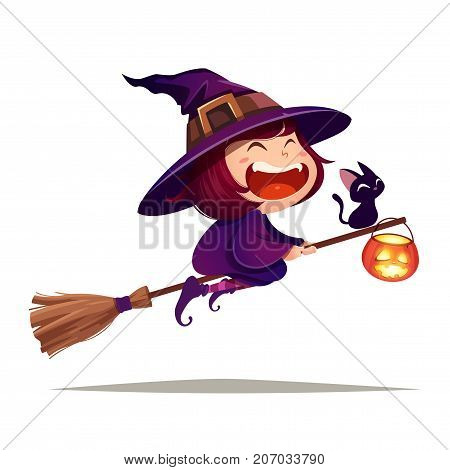 Halloween flying little witch. Girl kid in Halloween costume flies with black cat and pumpkin lantern. Isolated.