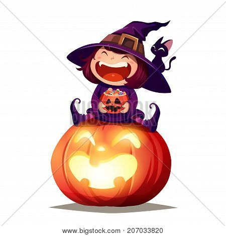 Halloween little witch. Girl kid in Halloween costume sits on a giant pumpkin. Isolated.
