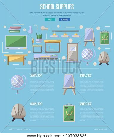 School supplies poster in flat style with desk, chair, doorway, lamp, floor whiteboard, globe, air conditioner, blackboard elements. Class interior design, modern school decoration vector illustration