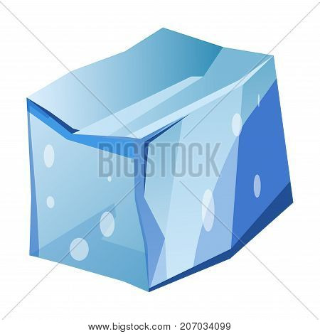 Blue transparent uneven ice glacier piece isolated cartoon vector illustration on white background. Massive natural frozen water piece. Huge smooth cold ice segment from North and South Poles.