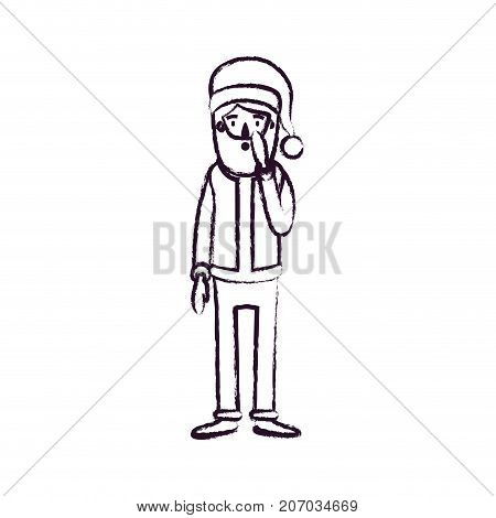 santa claus caricature full body with surprised expression with hat and costume blurred silhouette on white background vector illustration