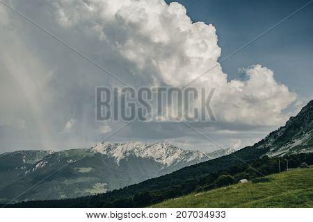 Cumulus clouds over Mountain Komovi in Montenegro.