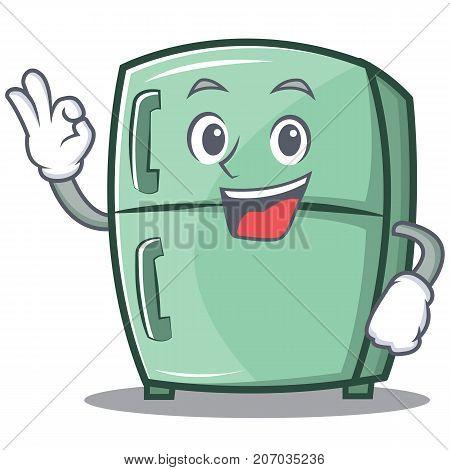 Okay cute refrigerator character cartoon vector illustration