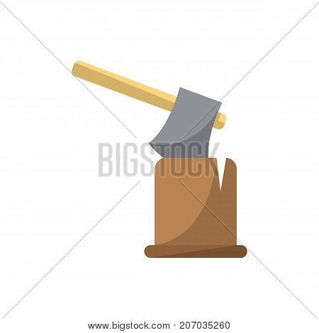 Ax in log icon in flat style. Joinery workshop product and equipment, sawmill element, woodwork tool vector illustration.