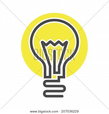 Electric light bulb icon in thin line style. Electrical equipment, simple lamp pictogram isolated on white background vector illustration.