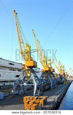 Port Cargo Crane, Train And Metal