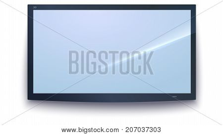 Smart TV icon, TV screen with the dark frame, LED TV hanging on the wall, isolated on the white background. Widescreen monitor icon, Design element, template for your work. 3D illustration