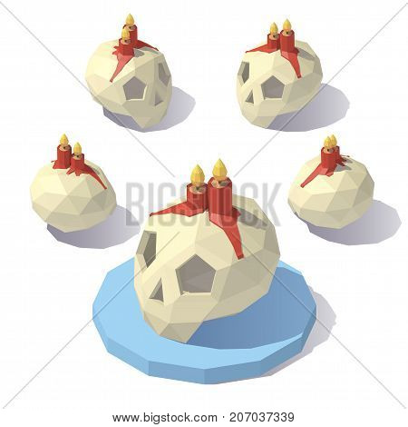 Vector isometric low poly skull with candles. Halloween attributes. Skull with candles from different angles.