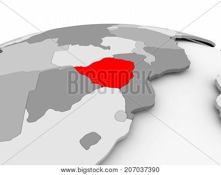 Zimbabwe On Grey Globe