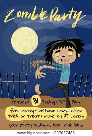 Zombie party poster with monster in graveyard. Cute walking dead character on club placard vector illustration. Halloween advertising with funny undead, festive horror event invitation.