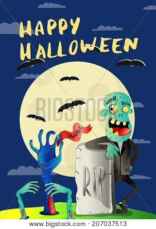 Happy Halloween poster with zombie in cemetery. Holiday party banner with undead man, festive horror event. Walking dead character, zombie hands sticking out from ground vector illustration