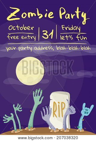 Zombie party poster with zombies hands in graveyard. Walking dead in cemetery vector illustration. Halloween advertising with funny undead, festive horror event invitation template.