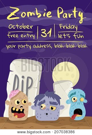 Halloween zombie party poster with monster heads in cemetery. Holiday banner with funny undead man, festive horror event invitation. Cute walking dead character in graveyard vector illustration