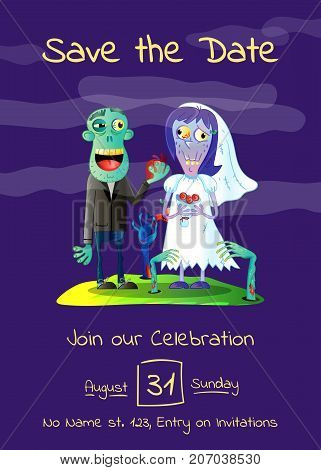Zombie party poster with married zombie couple in cemetery. Halloween holiday advertising with funny wedding undead, festive horror event invitation. Cute walking dead vector illustration
