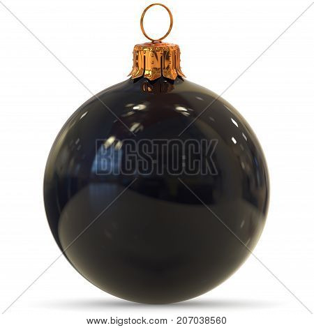 Christmas ball black decoration closeup New Year's Eve bauble hanging adornment traditional Happy Merry Xmas wintertime ornament polished. 3d rendering illustration