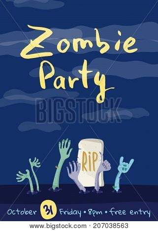 Zombie party poster with zombies hands in graveyard. Walking dead in cemetery vector illustration. Halloween advertising with funny undead, festive horror event banner template.