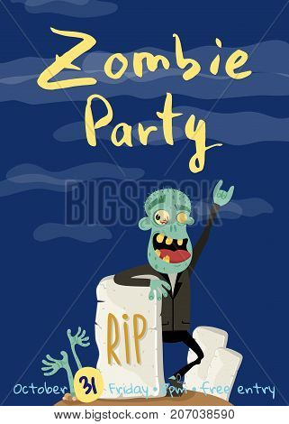 Zombie party poster with happy undead man in cemetery. Holiday event banner with corpse man, festive horror event concept. Funny walking dead character vector illustration in cartoon style