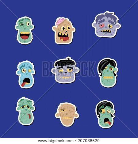Funny zombie avatar icon set. Halloween holiday undead sign, monster heads with emotional faces, zombie party labels collection, cute walking dead man isolated vector illustration