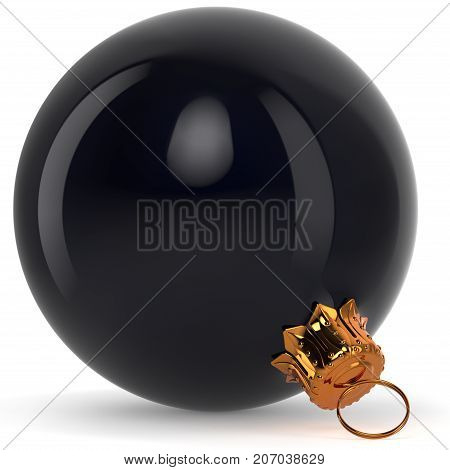 Black Christmas ball decoration New Year's Eve bauble hanging adornment traditional Happy Merry Xmas wintertime ornament polished closeup. 3d rendering illustration
