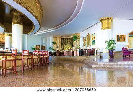 Sharm El Sheikh, Egypt - September 26, 2017: The lobbi at Monter Carlo Sharm Resort and SPA at Sharm El Sheikh, Egypt on September 26, 2017