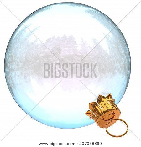 Christmas ball glass decoration white clean New Year's Eve bauble hanging adornment traditional Happy Merry Xmas wintertime ornament translucent closeup. 3d rendering illustration