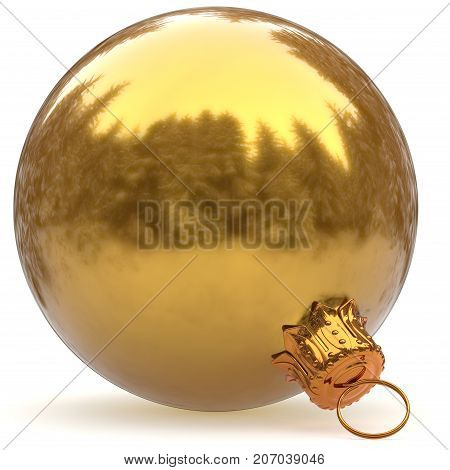 Christmas ball decoration golden bauble closeup Happy New Year's Eve hanging adornment polished traditional Merry Xmas wintertime ornament luxury yellow sparkling. 3d rendering illustration