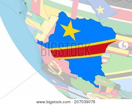Democratic Republic Of Congo With Flag On Globe