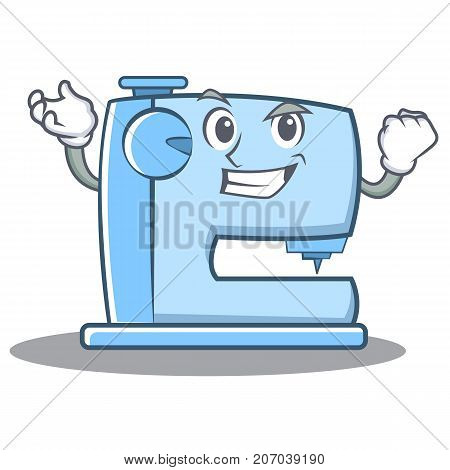 Successfull sewing machine emoticon character vector illustration